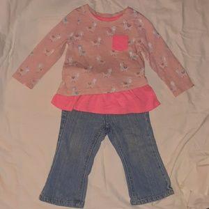 Girls 18mnth long sleeve pink shirt & blue jeans
